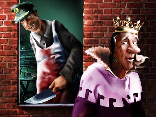 Главный почтмейстер королевства – озорник. Своих подчиненных, уличенных в коррупции, он мелко шинкует, тушит с баклажанами и поедает.