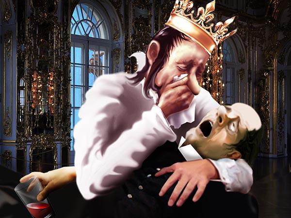 Вчера у меня на руках скончался мой верный соратник, а ночью приснился и в слезах признался: хотел отравить Моё Величество, да перепутал бокалы.