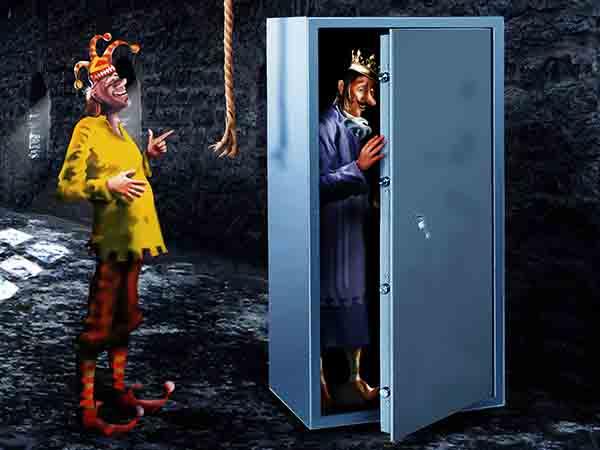 Роговицей глаза открываю сейф, в котором храню мизинец прадеда, отпечатком которого открываю сейф с ключом от казны, которая всегда почему-то разворована!